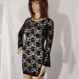 Love Culture Black Lace Mini Belled Sleeve Dress